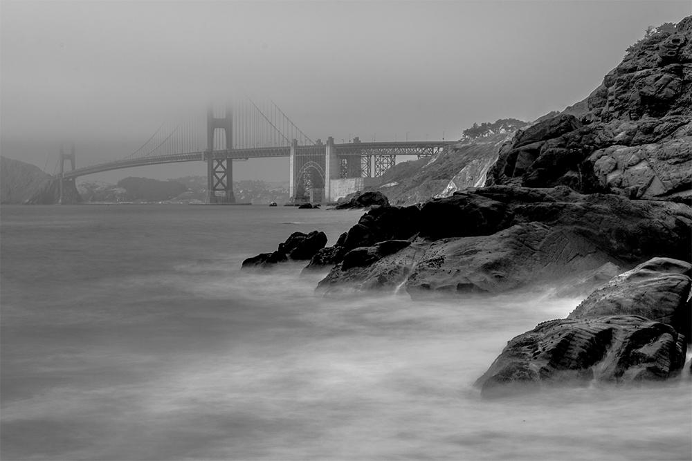 Golden Gate Bridge (Black & White) Barker Beach