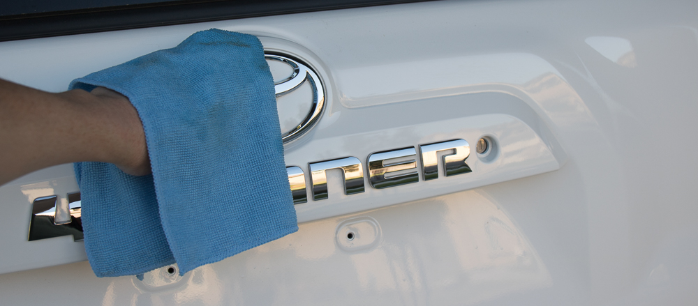 4Runner Blackout Emblem Kit - Wiping Down Debris