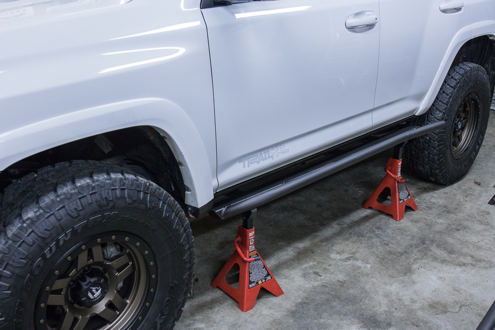 C4 Fab Rock Sliders 5th Gen 4Runner Install - Jack Stand Support Sliders