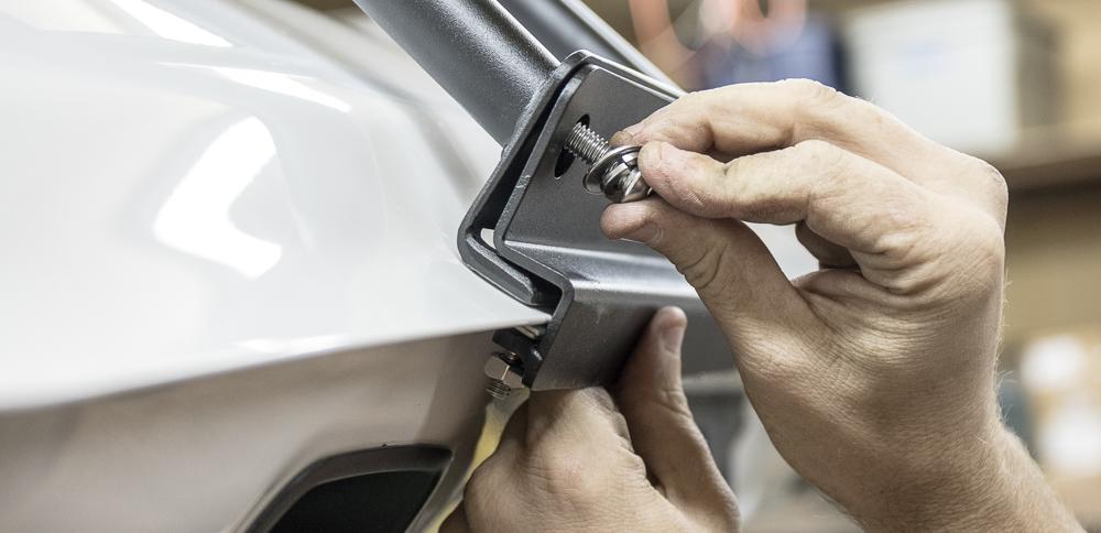 Gobi 4Runner Ladder Install - Setting Bottom Hatch Hardware