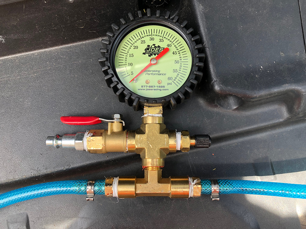 4-way brass fitting with air gauge
