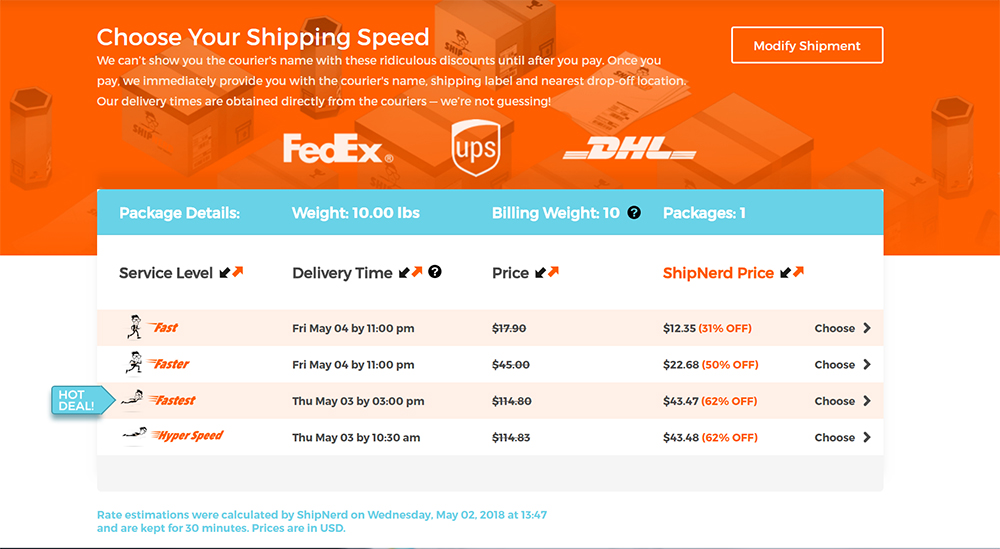 Multiple Shipping Options