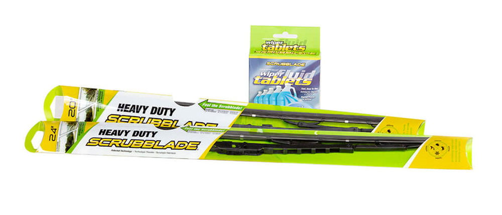Scrubblade Heavy Duty Wiper Blades and Wiper Fluid Tablets