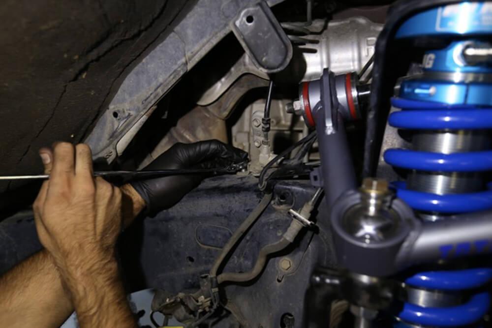 UCA Install - Step 13: Install Brake Line/ABS Sensor Wire Bracket