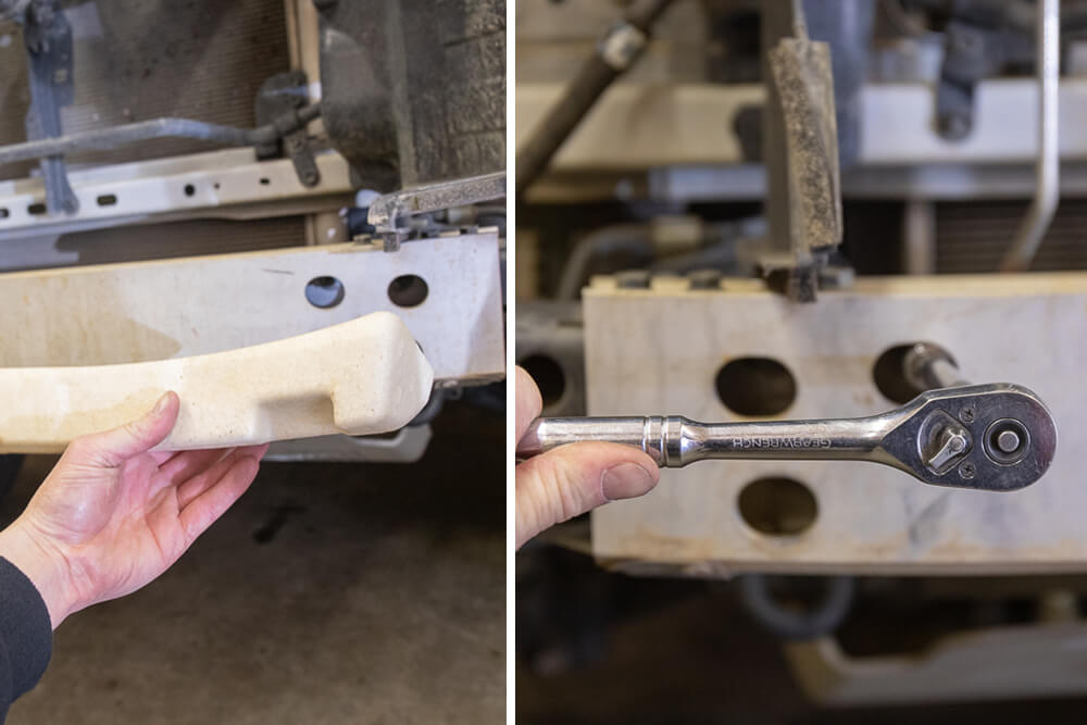 Remove Foam Inert and Unbolt Frame Rail Support