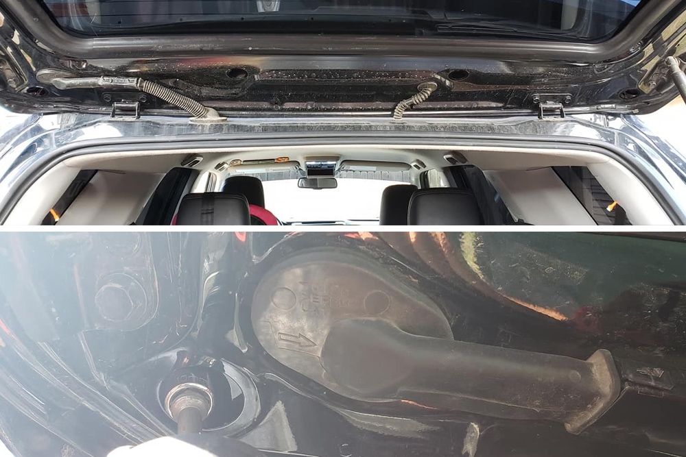 5th Gen 4Runner Rear Camera Relocation: Step 1 - Open Rear Hatch Door & Remove Grommet & Bolts