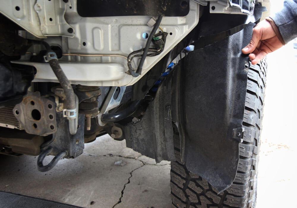 DeMello Off Road Bumper Install - Step 9. Cut Mud Flaps/Wheel Well Guards