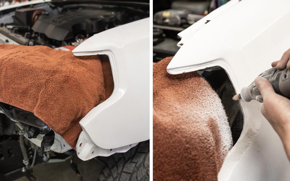 Fiberglass Install - Sanding Headlight Area