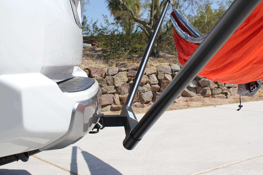 Mclean Metalworks Bare Bones Hammock Install & Full Review: Profile View of Standard Bare Bones Hammock Hitch Mount