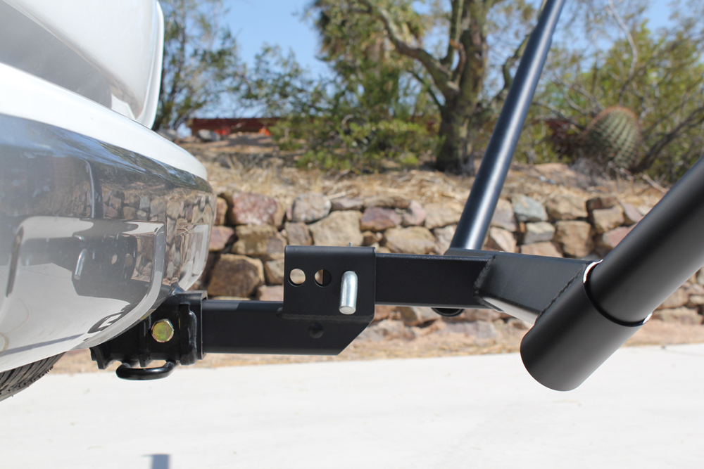 Mclean Metalworks Bare Bones Hammock Install & Full Review: Profile View of Extended Bare Bones Hammock Hitch Mount