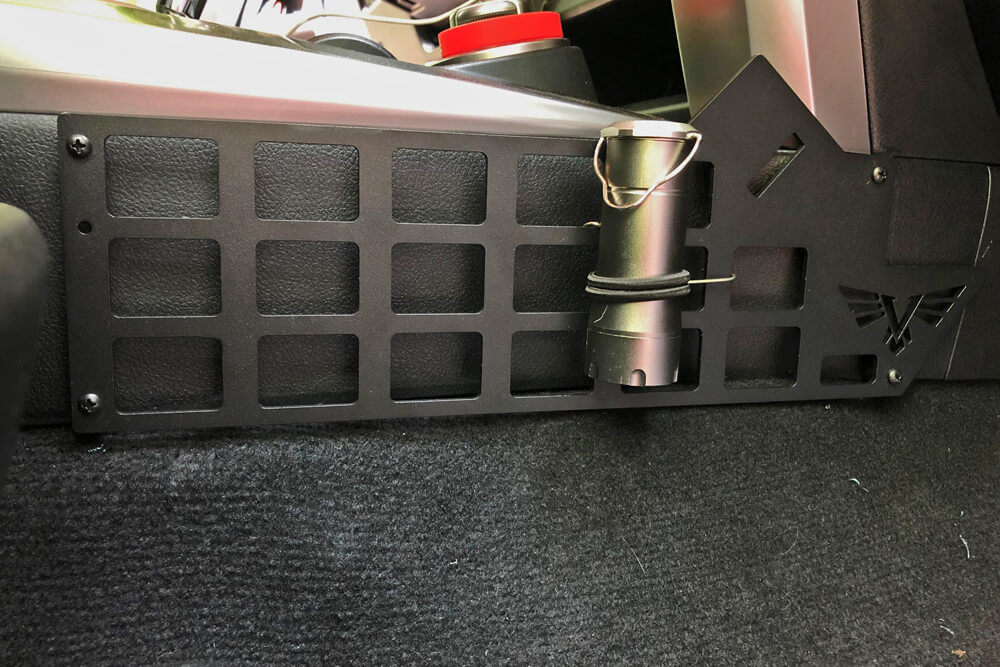 Victory 4X4 Console Molle and Accessory Panel Installation & Review: Passenger Side Molle and Accessory Panel Installed