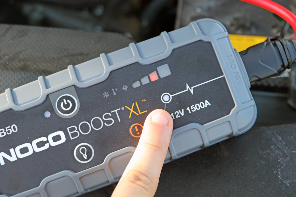 NOCO GB50 Portable Jump Starter: Review + Install For the 5th Gen 4Runner: Step 3. Power On GB50 + Start Vehicle