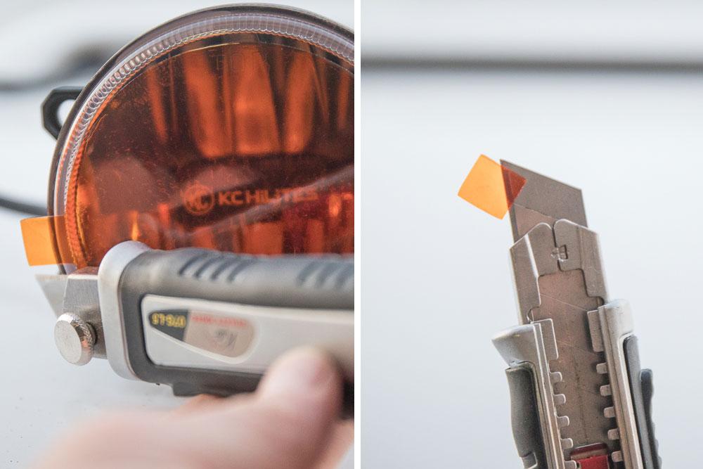 Step 4: Cut film edge tabs off