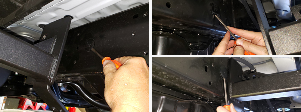 ShrockWorks Rock Sliders Installation & Overview For the 5th Gen 4Runner: STEP 3. REMOVE PLASTIC PLUGS IN FRAME RAILS
