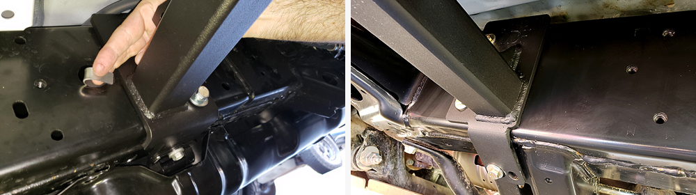 ShrockWorks Rock Sliders Installation & Overview For the 5th Gen 4Runner: STEP 4. FASTEN MAIN LEGS OF SLIDERS TO THE FRAME