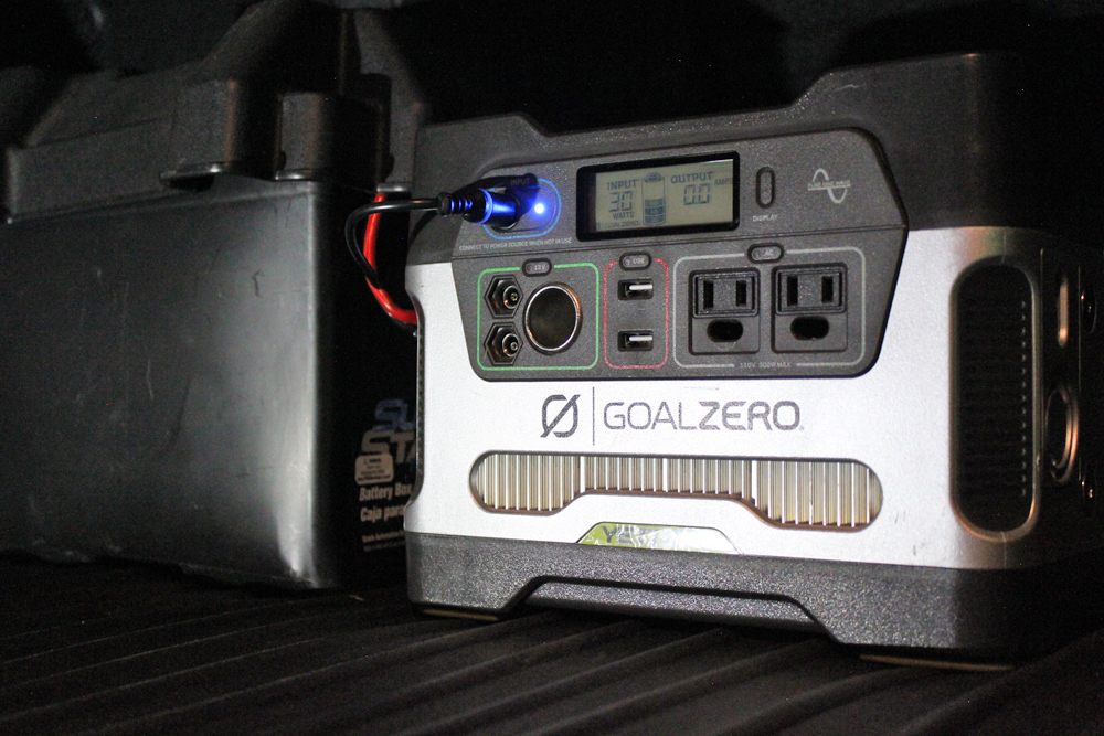 "Goal Zero Yeti 400/""1200"" Portable Power Station and Boulder 100 Solar Panel Briefcase Review For 5th Gen 4Runner: Charging from Vehicle"