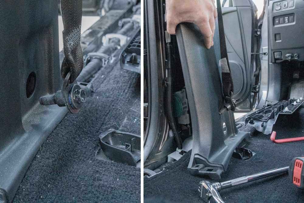 Remove B-Pillar Seatbelt & Plastics