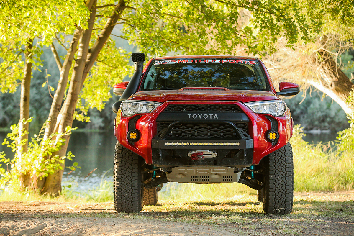 Lifted Red TRD Pro 4Runner - High Clearance Bumper Cut