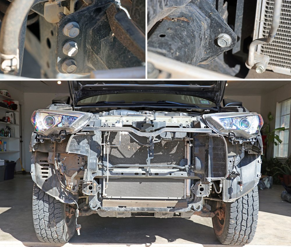 Southern Style Off-Road (SSO) Slimline Hybrid Winch Front Bumper step-By-Step Install For the 5th Gen 4Runner: Step 10. Remove OEM Aluminum Crash Bumper