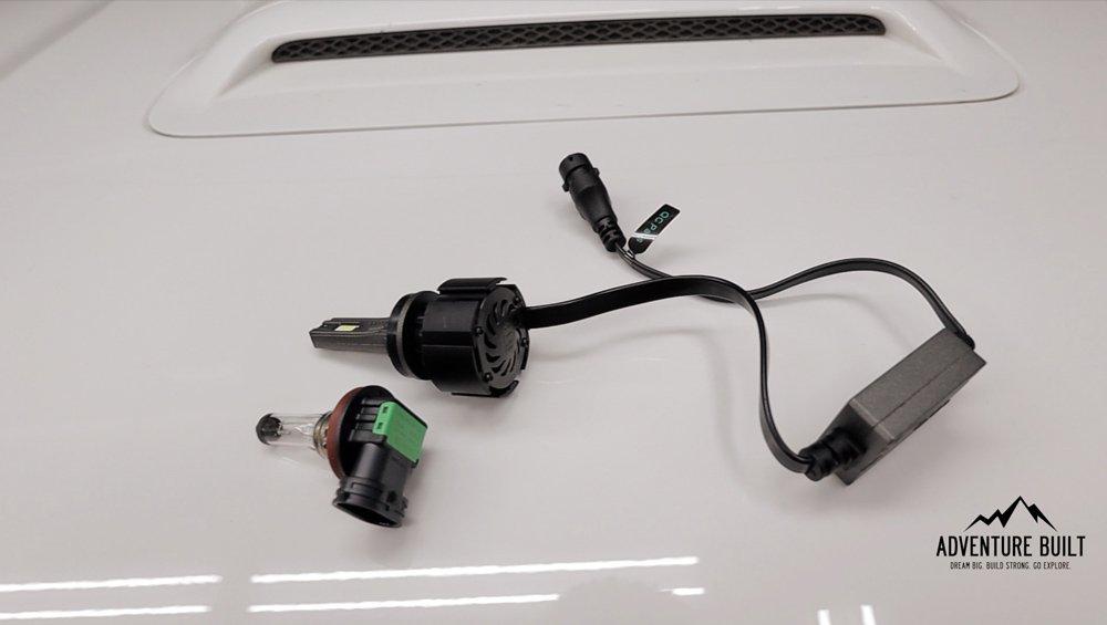 GTR Ultra 2 LED High Beam Step-By-Step Install and Review For the 5th Gen 4Runner: Step 2. Remove Dust Cover (Passenger Side): GTR Ultra 2s vs OEM Bulb
