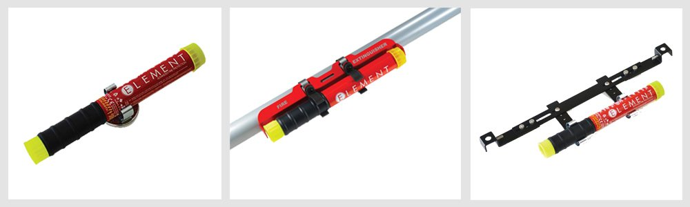 Element E50 Fire Extinguisher - Benefits Of It's Compact Design & Easy-To-Use System Over Conventional Options: Mounting Accessories (Not Included)