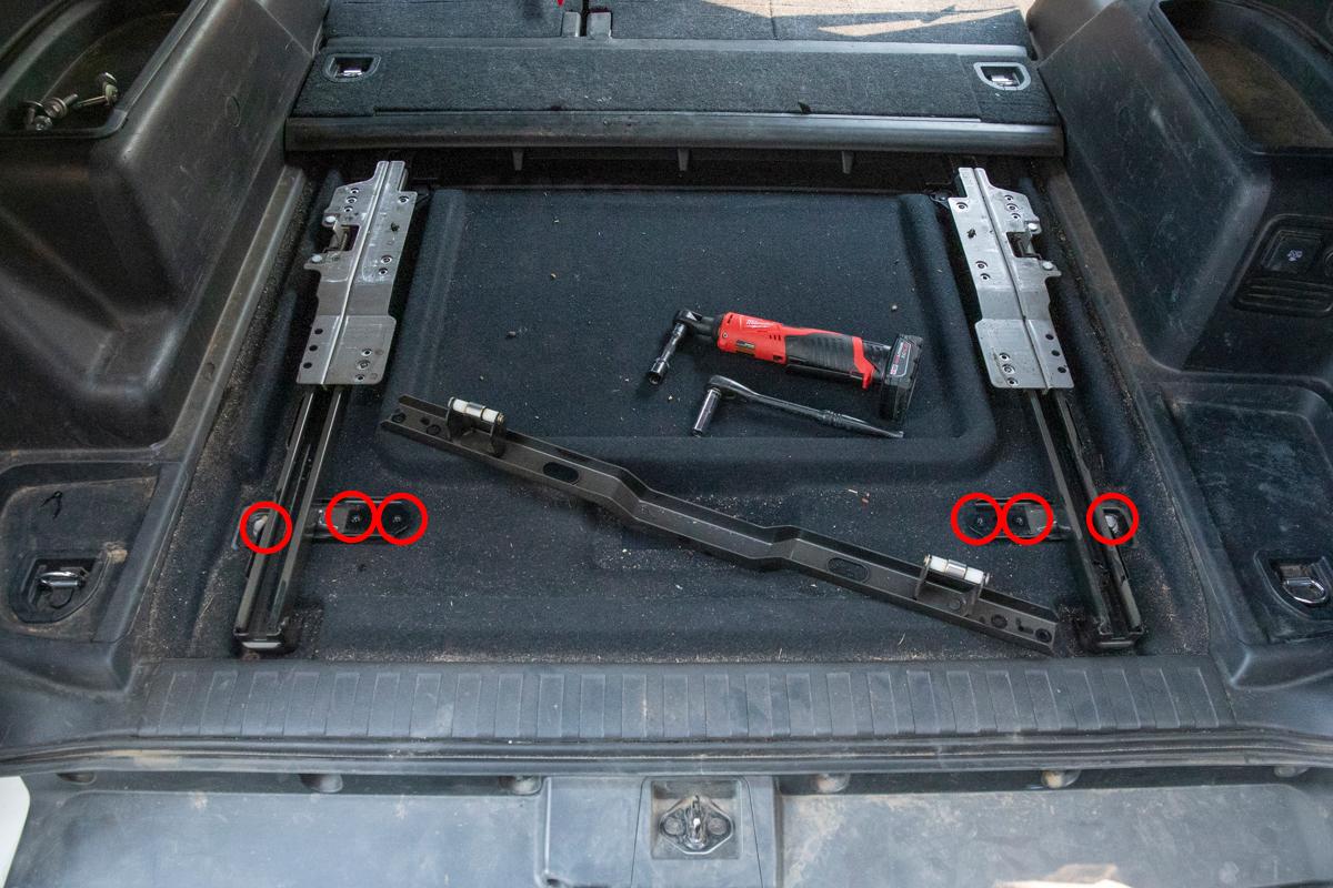 Remove Cargo Tray Slide Brace