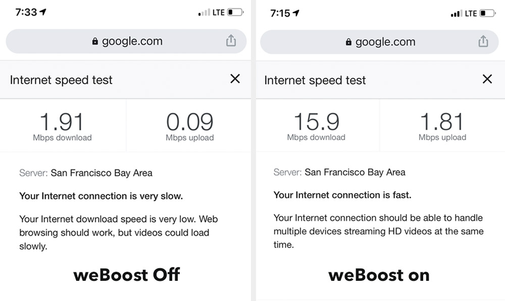 weBoost Before and after comparison