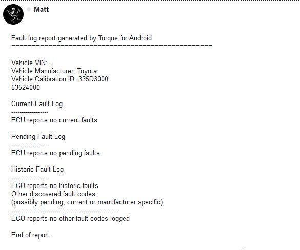 ECU report after install
