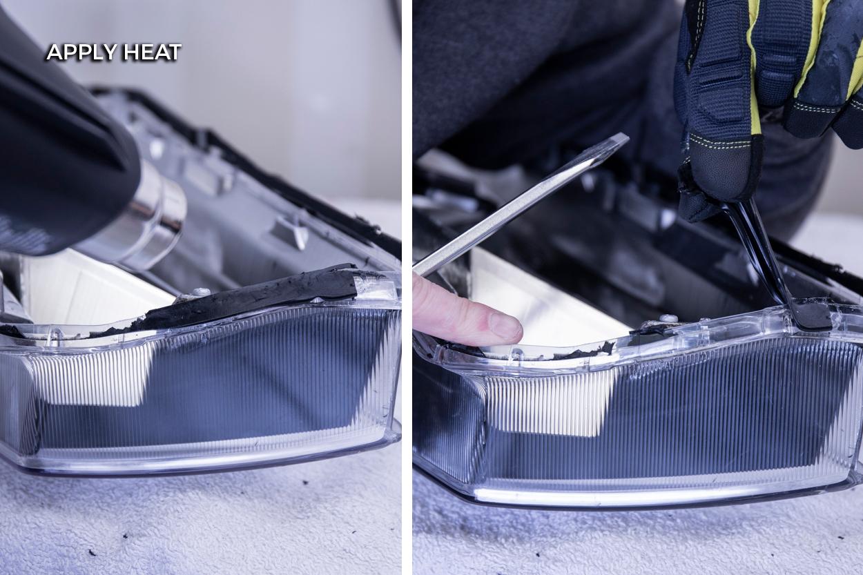 How to Remove Permaseal from Headlight Lens (Heatgun & Screwdriver)