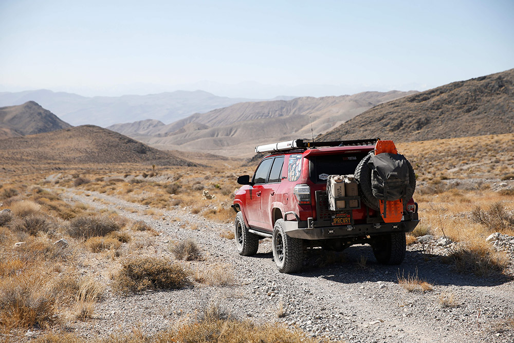 Red Overland Ready 5th Gen 4Runner with Rear Tire Swingout