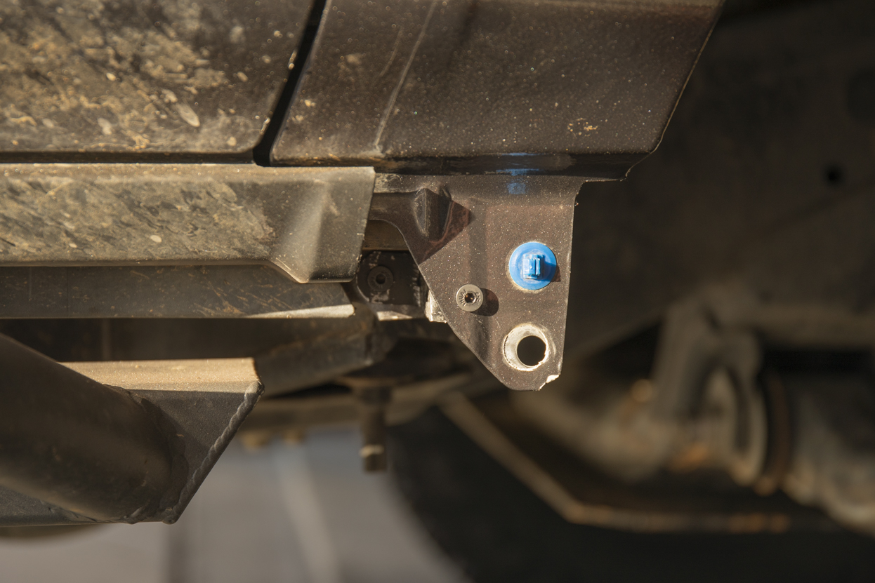 Slide bolt through S bracket