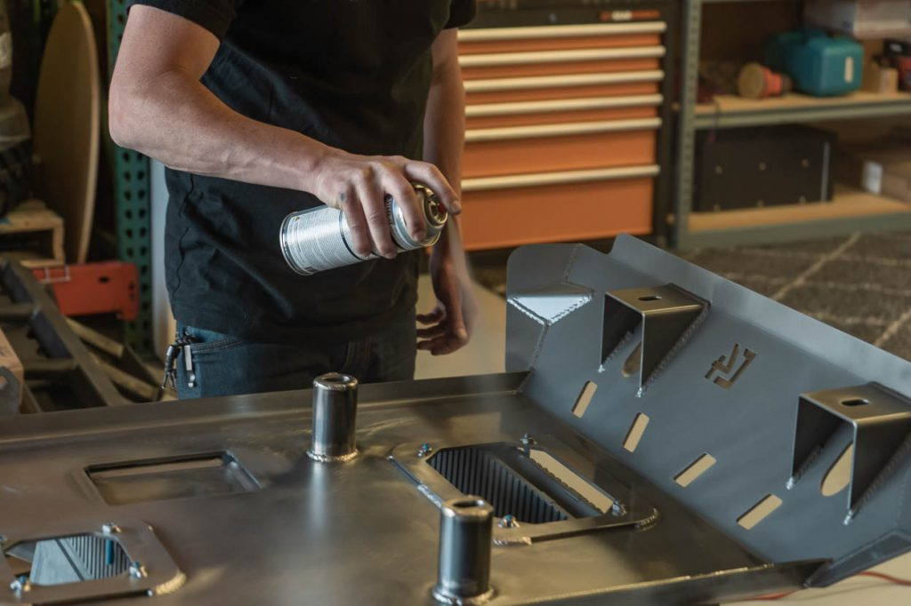Steel-It Gray Coating on C4 Fabrication Front Skid Plate