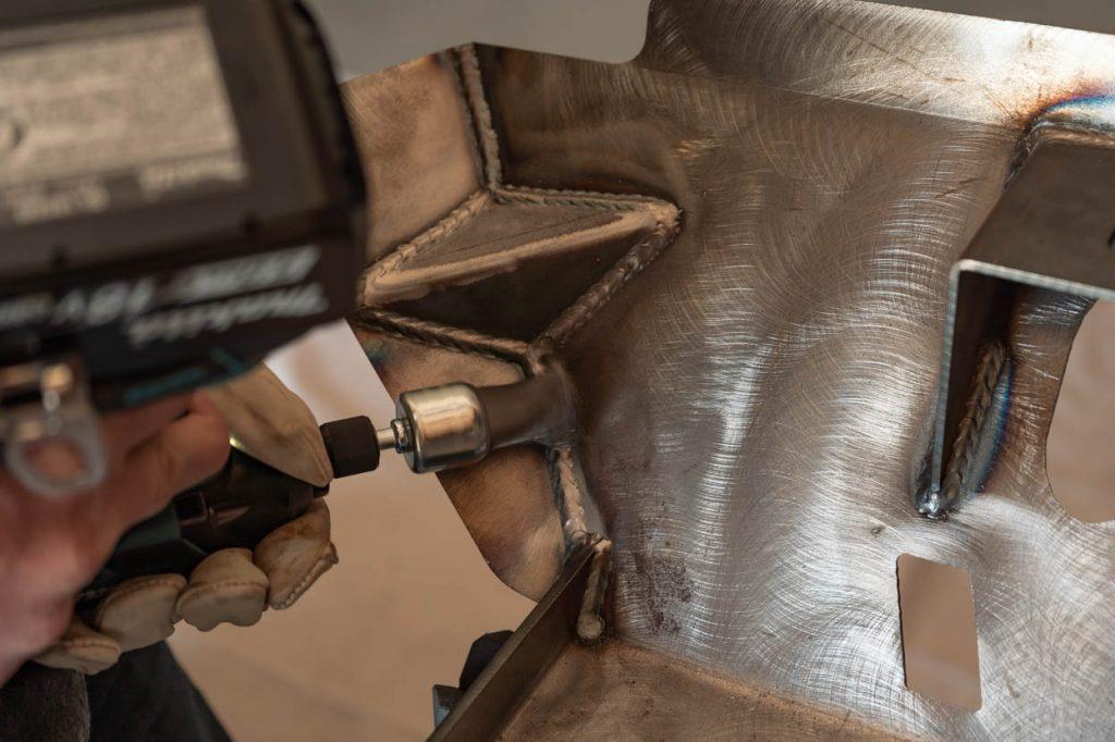 Fine Tip Wire Wheel Steel-It Prep on C4 Fabrication Front Skid