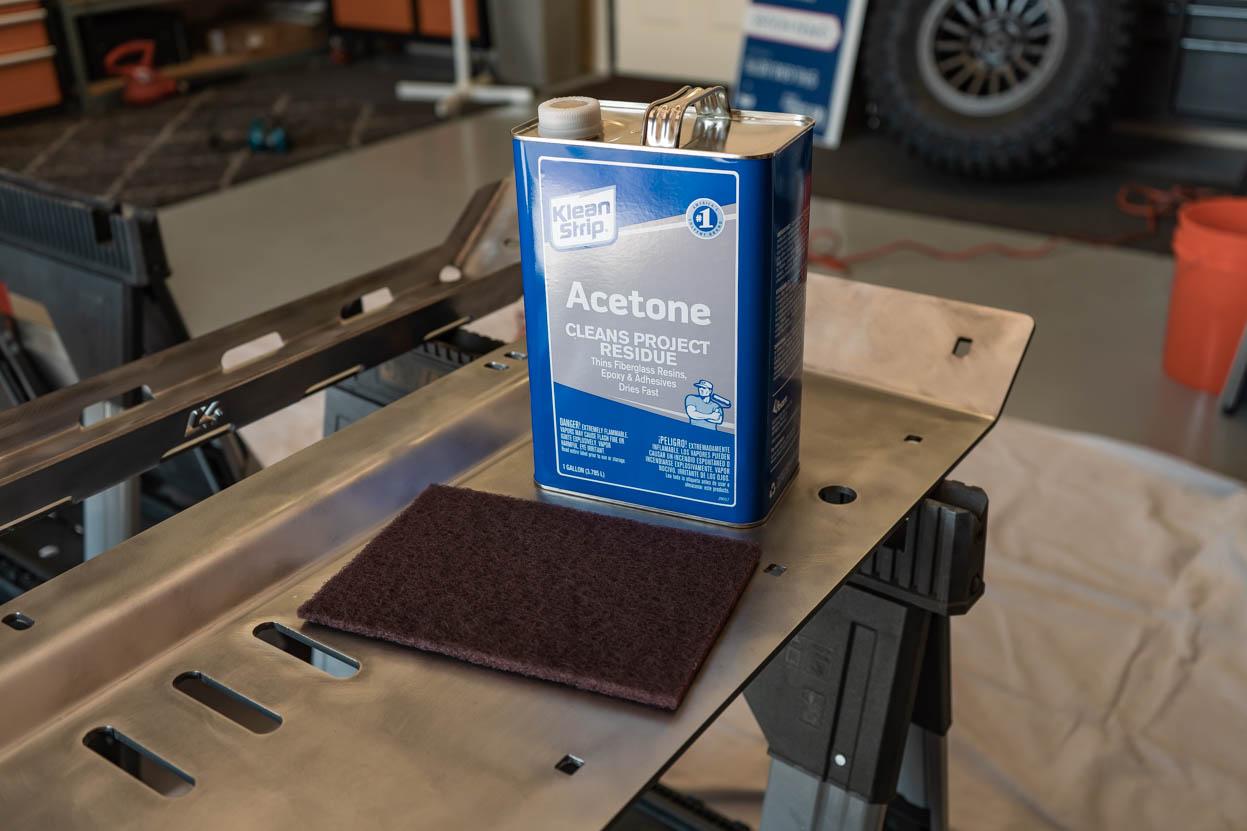 Acetone Wash and Scotch Brite Pad